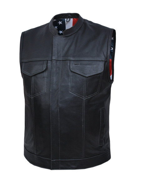 Leather Motorcycle Vest - Men's - Up To 8XL - USA Flag Liner - 6665-USA-UN