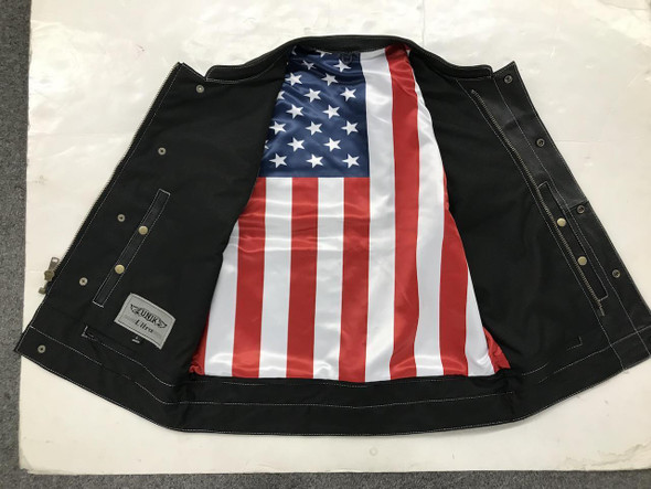 Men's Leather Vest with USA Flag Liner From Unik - SKU 6665-USA-UN