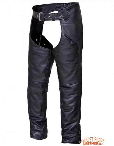 Leather Motorcycle Chaps - Unisex - Deep Pockets - 7102-K-UN