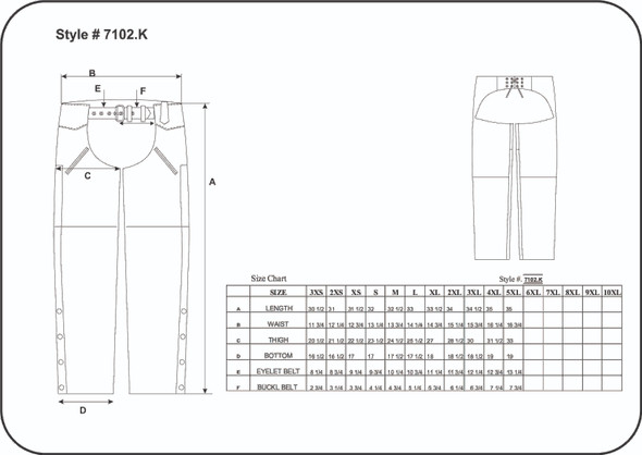 Leather Motorcycle Chaps - Unisex - Deep Pockets - 7102-K-UN Size Chart