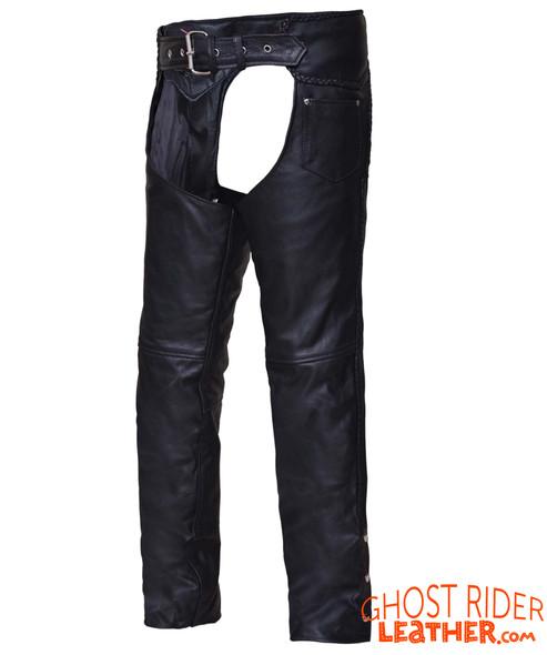 Leather Motorcycle Chaps - Unisex - Braid Design - 700-K-UN