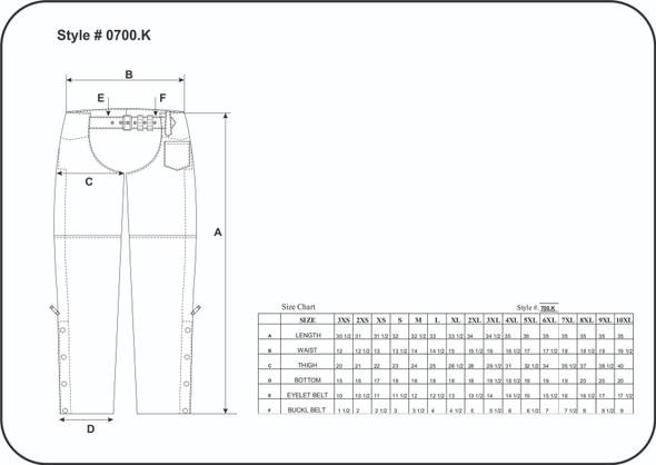 Leather Motorcycle Chaps - Unisex - Braid Design - 700-K-UN Size Chart