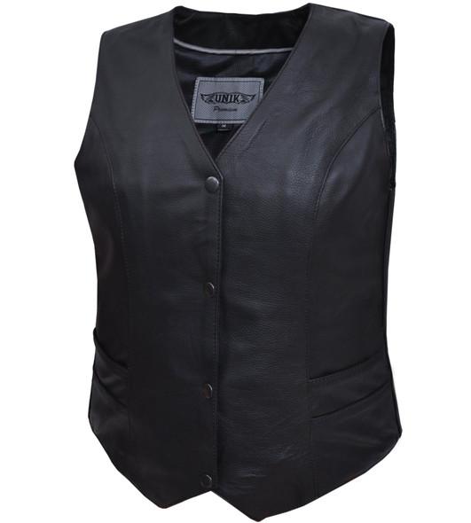 Women's Leather Motorcycle Vest - Snap Closure - 2658-00-UN