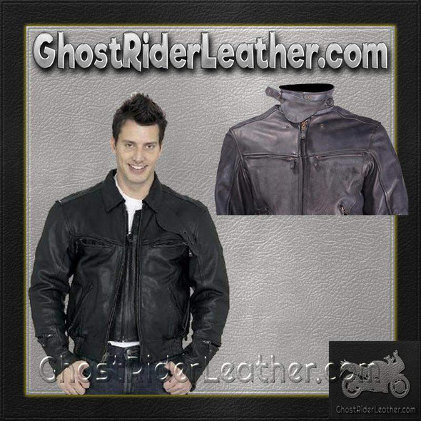 Vented Racer Leather Jacket with Convertible Collar - GRL-MJ786-DL