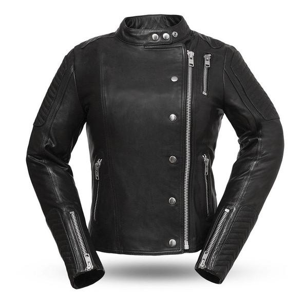 Warrior Princess - Women's Gray or Black Leather Motorcycle Jacket - FIL187CJZ-FM