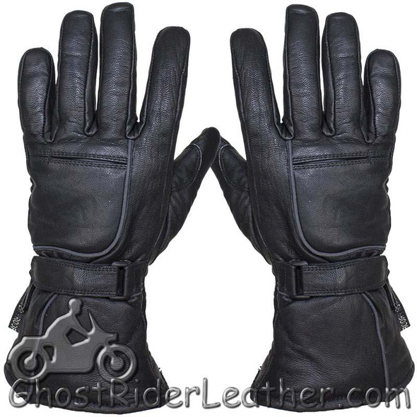Leather Gloves - Men's - Waterproof - Reflective - Gauntlet - GLZ85-11N-DL