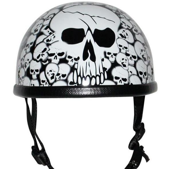 Novelty Motorcycle Helmet - White Skull Boneyard - Shorty - H6401-WHITE-DL