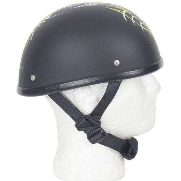 Novelty Motorcycle Helmet - Yellow Sun Grazer - Shorty - H501-D6-YELLOW-DL