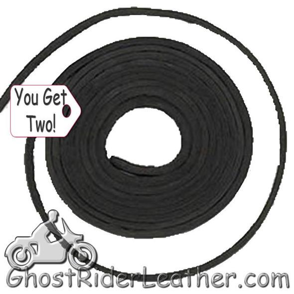 You Get TWO - 6 Foot Lengths of Black Leather Lacing SKU GRL-CE3-BLACK-X2-GRL