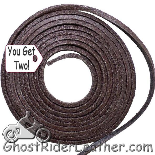 You Get TWO - 6 Foot Lengths of Brown Leather Lacing SKU GRL-CE3-BROWN-X2-GRL