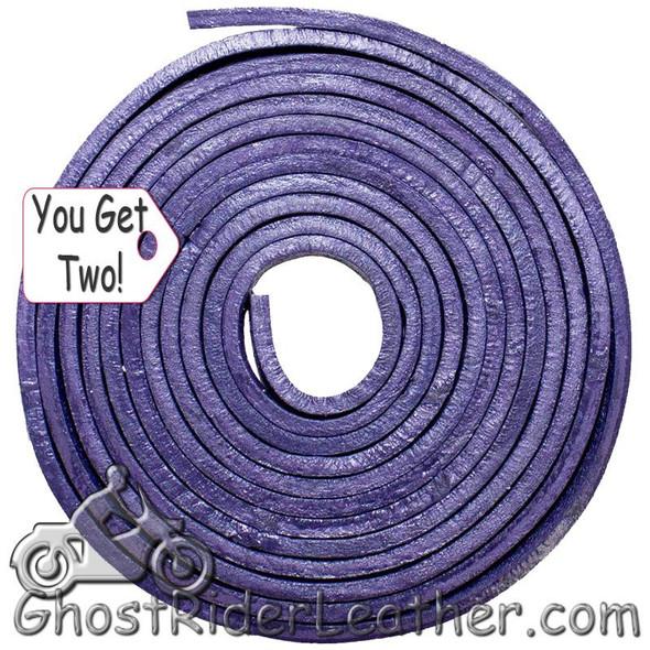 You Get TWO - 6 Foot Lengths of Purple Leather Lacing SKU GRL-CE3-PURPLE-X2-GRL