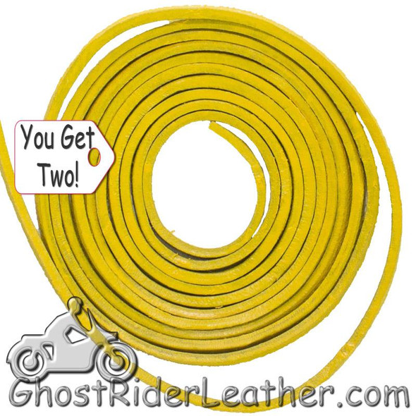 You Get TWO - 6 Foot Lengths of Yellow Leather Lacing SKU GRL-CE3-YELLOW-X2-GRL