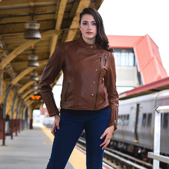 Leather Jacket - Women's - Racer - Anthracite or Whiskey - WBL1587-FM
