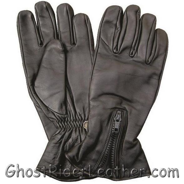 Zipper Closure Premium Naked Leather Motorcycle Riding Gloves - SKU GRL-AL3070-AL