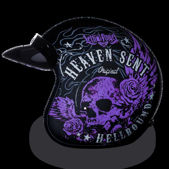 DOT Motorcycle Helmet - Purple Heaven Sent - Open Face - 3/4 - DC6-HS-DH