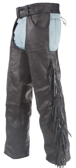 Leather Chaps - Braid and Fringe - Up To 10XL - Unisex - C337-RC-DL