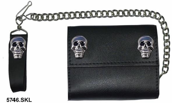 4 inch Black Leather Biker Chain Wallet With Skulls - Tri-fold - SKU 5746-SKL-UN