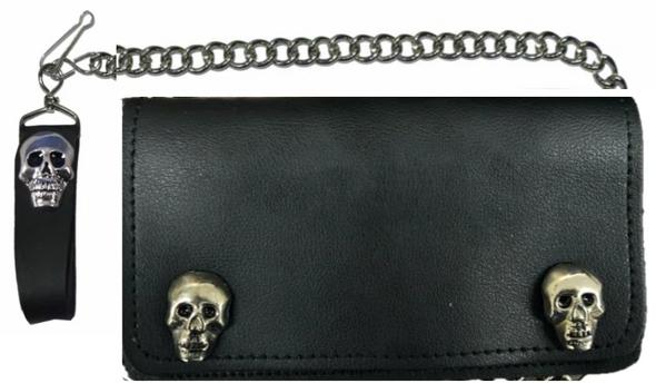 6 inch Black Leather Biker Chain Wallet With Skulls - Bi-fold - SKU 5743-SKL-UN