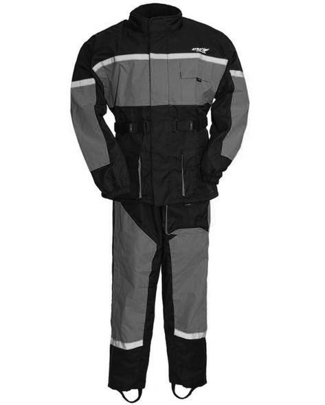 Men's Waterproof Motorcycle Rain Suit in Gray - SKU ATM3003-GREY-FM