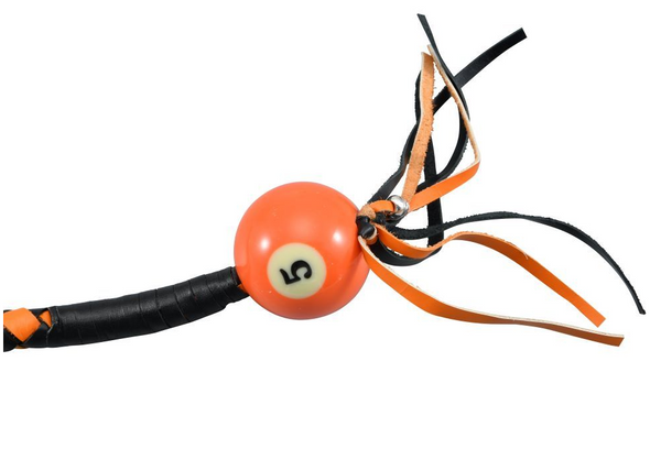 Get Back Whip in Black and Orange Leather With Pool Ball - 36 Inches - GBW9-BB-36-DL