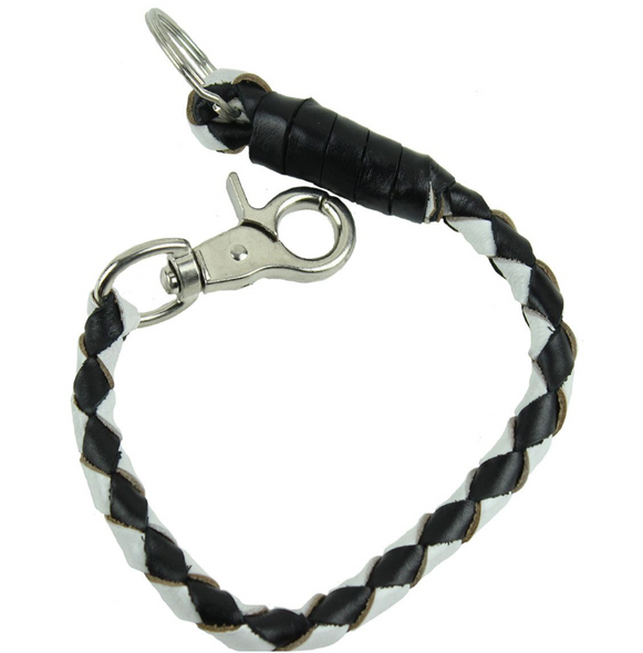Key Chain - Get Back Whip Style  in Black and White Leather - 14 Inches Long - SKU KC-GBW7-DL