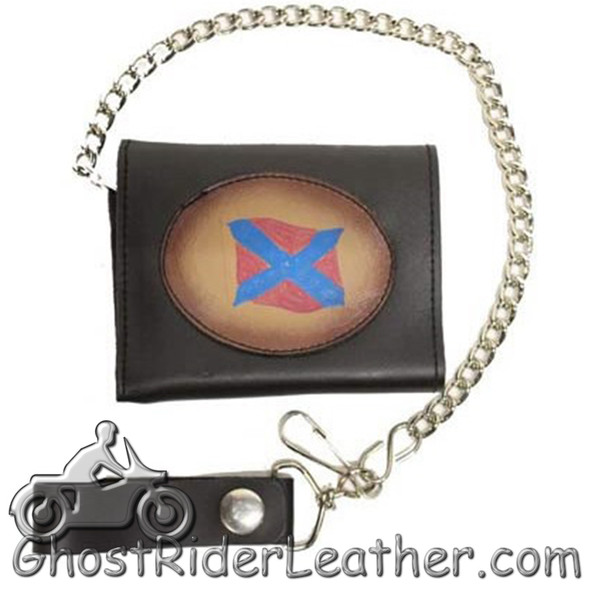 Leather Chain Wallet - 4 Inch Tri-Fold - Rebel-2 Style - AC55-REBEL2-DL
