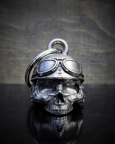 Motorcycle Helmet Skull - Pewter - Motorcycle Ride Bell - Made In USA - SKU BB30-DS