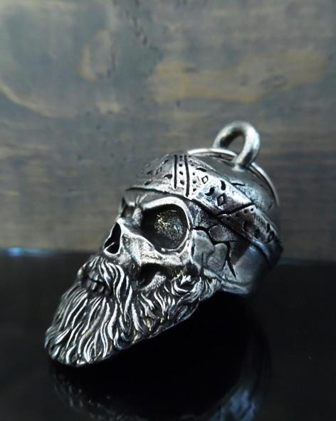 Old School Biker Skull - Pewter - Motorcycle Gremlin Bell - Made In USA - SKU BB96-DS