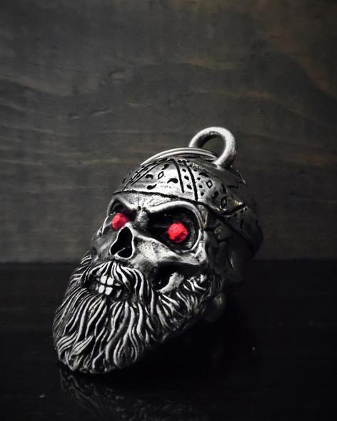 Old School Biker Skull Diamond - Pewter - Motorcycle Gremlin Bell - Made In USA - SKU BB97-DS