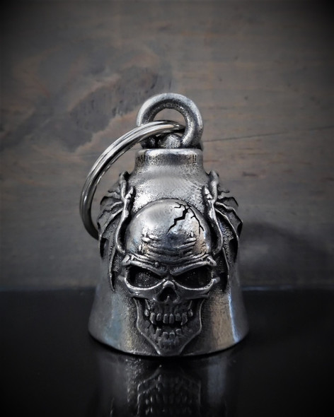 Skull Batwing - Pewter - Motorcycle Gremlin Bell - Made In USA - SKU BB59-DS