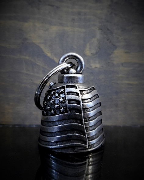 USA Flag - Pewter - Motorcycle Gremlin Bell - Made In USA - SKU BB34-DS