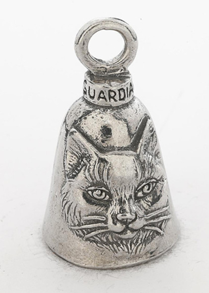 Cat - Pewter - Motorcycle Guardian Bell - Made In USA - SKU GB-CAT-DS