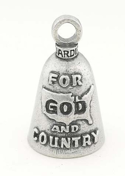 For God and Country - Pewter - Motorcycle Guardian Bell® - Made In USA - SKU GB-FOR-GOD-AND-C-DS