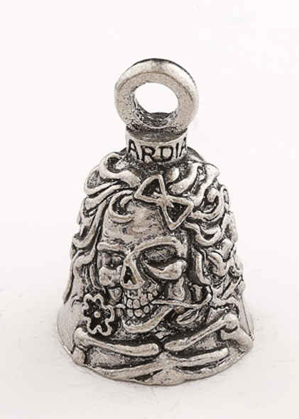 Lady Skull - Pewter - Motorcycle Guardian Bell® - Made In USA - SKU GB-LADY-SKULL-DS