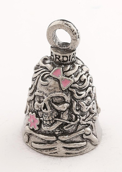 Lady Skull With Pink Bow & Flowers - Pewter - Motorcycle Guardian Bell® - Made In USA - SKU GB-LADY-SKULL-W-DS