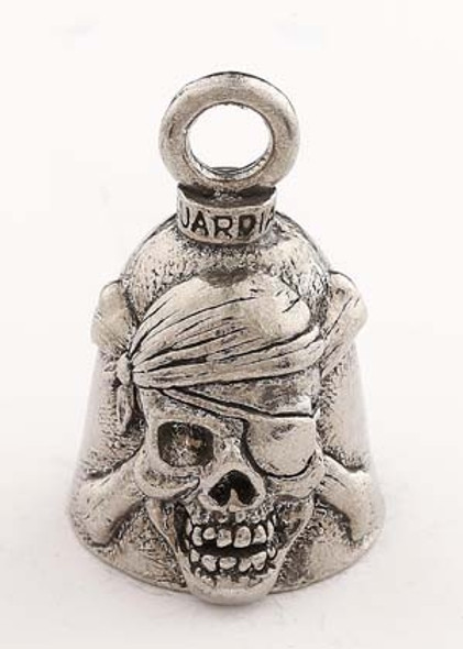 Pirate Skull - Pewter - Motorcycle Guardian Bell® - Made In USA  SKU GB-PIRATE-SKULL-DS