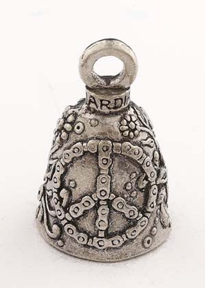 Peace Sign - Pewter - Motorcycle Guardian Bell® - Made In USA - SKU GB-PEACE-SIGN-DS