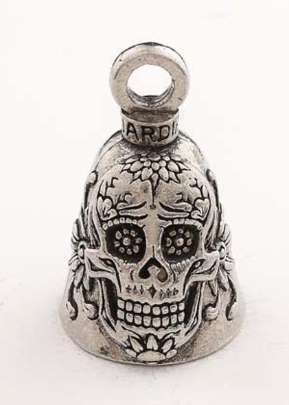 Sugar Skull - Pewter - Motorcycle Guardian Bell® - Made In USA - SKU GB-SUGAR-SKULL-DS