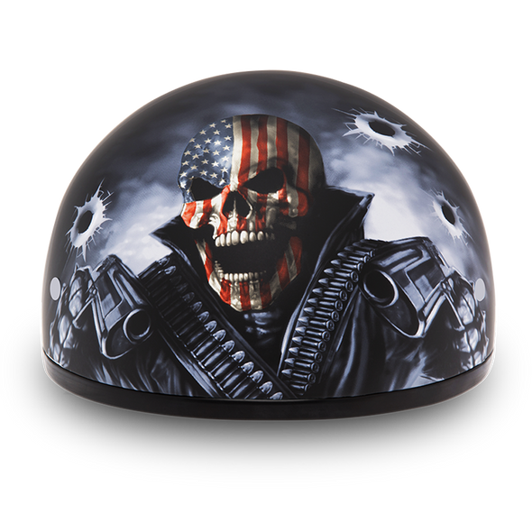 DOT Approved Motorcycle Helmet - Skull and Come Get 'Em - Shorty - D6-CG-DH