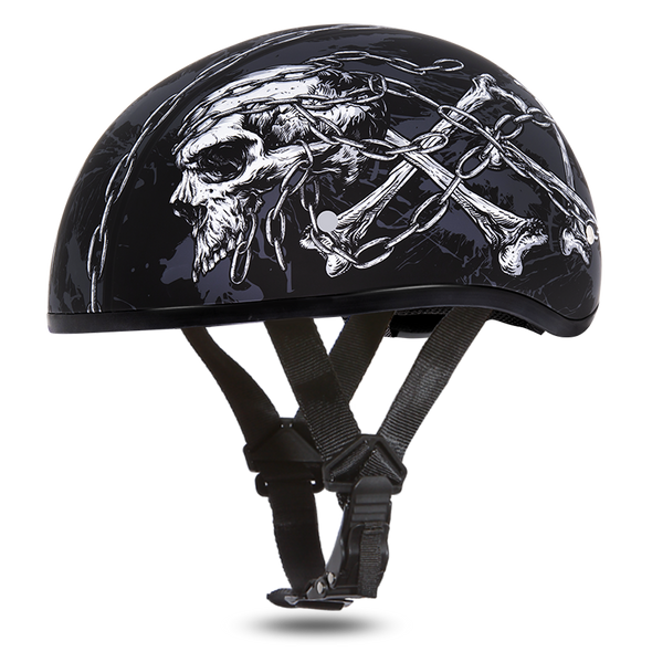 Motorcycle Helmet With Skull and Chains - DOT Approved - D6-SC-DH