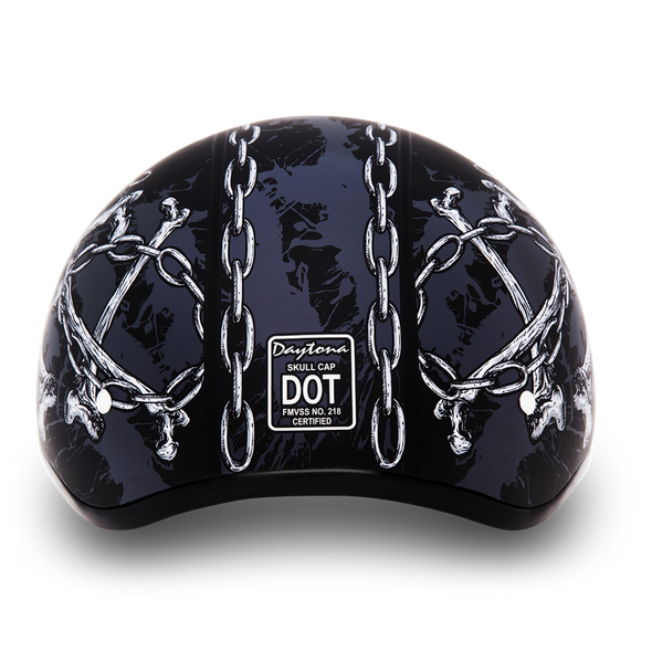 DOT Motorcycle Helmet - Skull - Chains - Shorty - D6-SC-DH