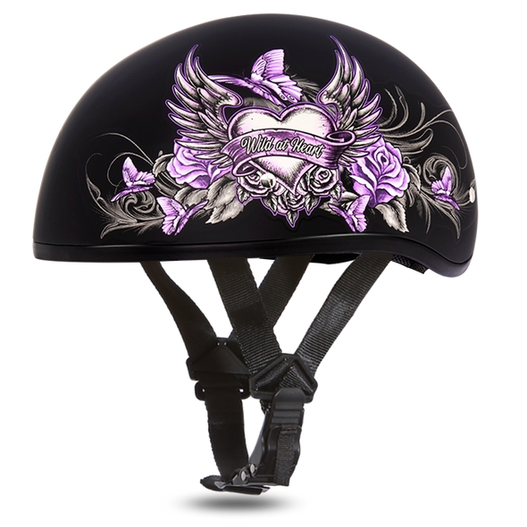 DOT Motorcycle Helmet - Purple Wild At Heart - Shorty - D6-WH-DH