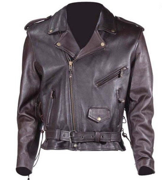 Embossed Eagle Retro Brown Motorcycle Jacket with Side Laces and Live To Ride - SKU MJ703-09-DL