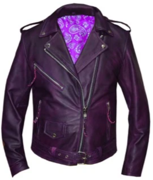 UNIK Ladies Premium Purple Lambskin Leather Motorcycle Jacket - 6832-17-UN