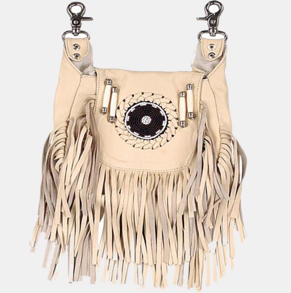Leather Clip On Bag -Fringe - Beaded - Belt Bag - Cream - 2114-10-UN