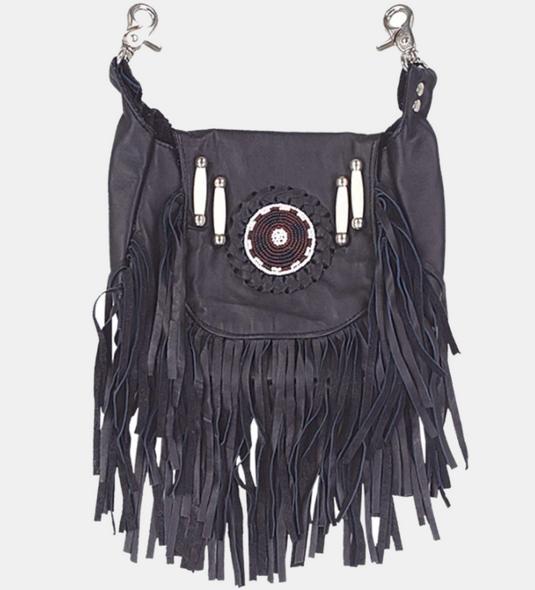Leather Clip On Bag - Beaded - Fringe - Black - Belt Bag - 2114-00-UN