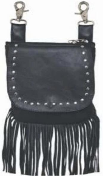 Leather Clip On Bag - Studs - Fringe Design - Belt Bag - 9729-00-UN