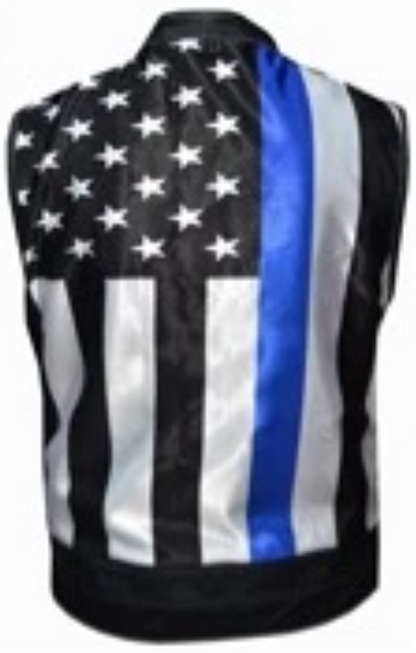 Men's Leather Vest with USA Flag Liner With Thin Blue Line From Unik - SKU 6670-00-UN