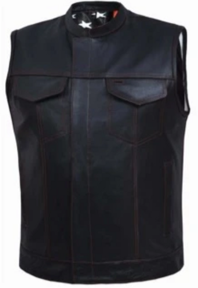 Men's Leather Vest with USA Flag Liner With Red Line From Unik - SKU 6669-00-UN
