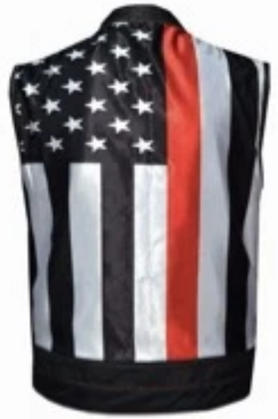 Leather Motorcycle Vest - Men's - Up To 5XL - USA Flag Liner - Red Line - 6669-00-UN